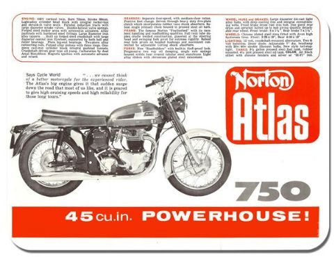 Vintage Norton Atlas Motorbike Brochure Mouse Mat Classic Motorcycle Mouse Pad